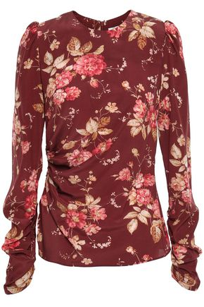 ZIMMERMANN Floral-print ruched silk-blend crepe top
