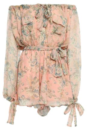 ZIMMERMANN Tempest Gathers belted floral-print silk-georgette playsuit