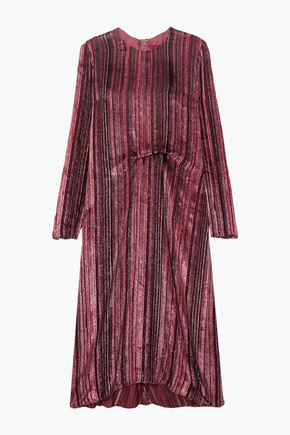 SIES MARJAN Maude metallic devoré-velvet and chiffon midi dress