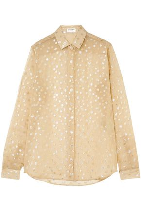 SAINT LAURENT Metallic fil coupé silk-blend georgette shirt