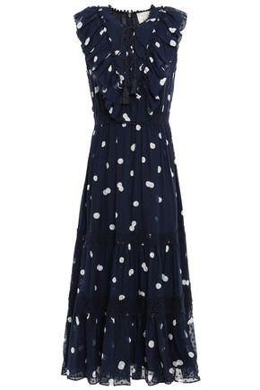 KATE SPADE New York Ruffled polka-dot fil coupé silk midi dress