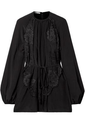 STELLA McCARTNEY Lace-trimmed silk crepe de chine blouse