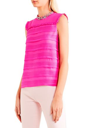 MIU MIU Pintucked embellished silk-georgette top