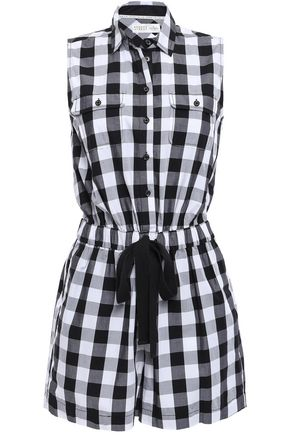 KATE SPADE New York Gingham cotton-poplin playsuit