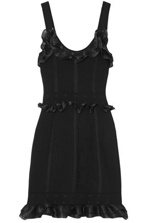 ALEXANDER MCQUEEN Ruffle-trimmed cloqué-knit mini dress