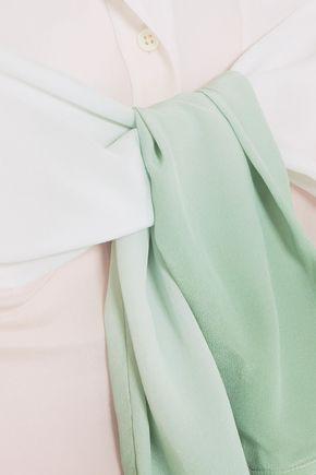 SIES MARJAN Belted dégradé silk crepe de chine shirt