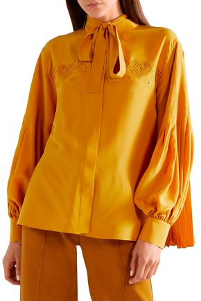 FENDI Pussy-bow pleated silk crepe de chine shirt