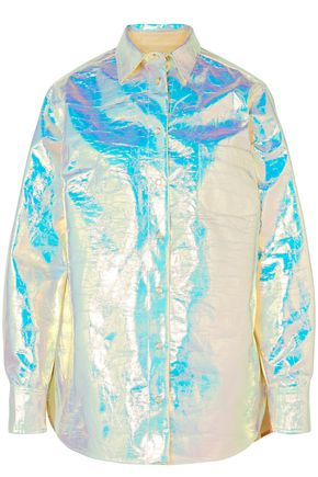 SIES MARJAN Sander iridescent coated-cotton shirt