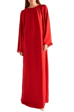 THE ROW Gathered silk maxi dress