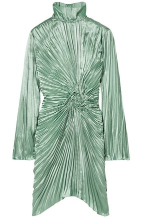 SIES MARJAN Ida twisted pleated satin mini dress