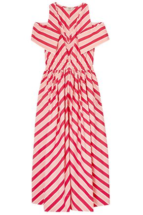 FENDI Cold-shoulder striped cotton-twill midi dress