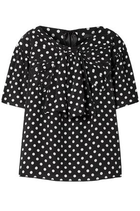 MARC JACOBS Bow-embellished polka-dot silk crepe de chine blouse