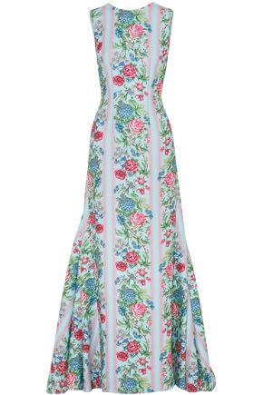 EMILIA WICKSTEAD Open-back floral-print cloqué gown