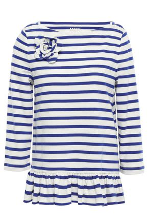 KATE SPADE New York Floral-appliquéd striped cotton-jersey top