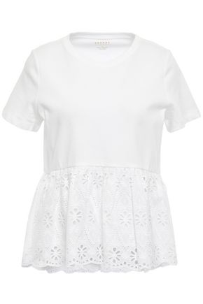 KATE SPADE New York Gathered paneled broderie anglaise and cotton-jersey top