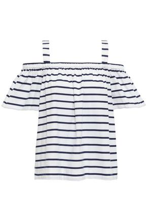 KATE SPADE New York Cold-shoulder striped stretch-cotton jacquard top