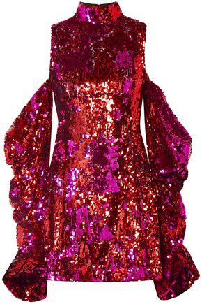 HALPERN Cold-shoulder sequined tulle mini dress