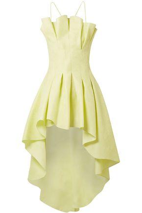ROSIE ASSOULIN Asymmetric pleated silk-jacquard halterneck top