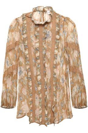 ZIMMERMANN Lace-trimmed silk-georgette blouse