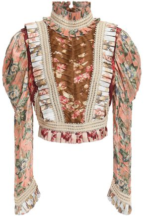 ZIMMERMANN Pleated floral-print silk blouse