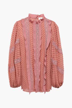 ZIMMERMANN Pleated lace-trimmed Swiss dot silk-georgette blouse