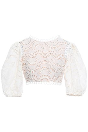 ZIMMERMANN Cropped broderie anglaise cotton top