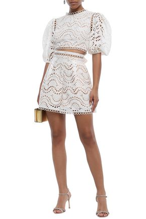 Zimmermann Jaya Wave Cropped Tie-back Broderie Anglaise Cotton Top In White