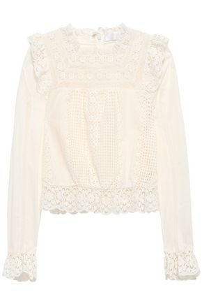 ZIMMERMANN Lace-trimmed broderie anglaise cotton top