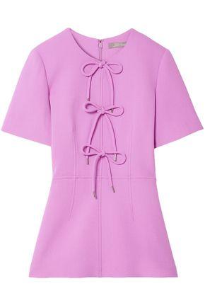 LELA ROSE Bow-embellished wool-blend crepe peplum top