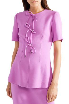 LELA ROSE Bow-detailed wool-blend crepe peplum top