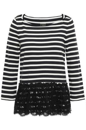 KATE SPADE New York Layered corded lace and striped cotton-jersey top