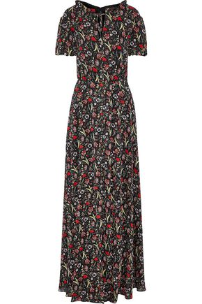 MIKAEL AGHAL Gathered metallic floral-print georgette maxi dress