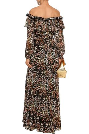 MIKAEL AGHAL Off-the-shoulder point d'esprit-trimmed floral-print georgette gown