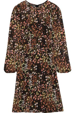 MIKAEL AGHAL Floral-print metallic georgette dress