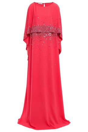 OSCAR DE LA RENTA Cape-effect crystal-embellished silk gown