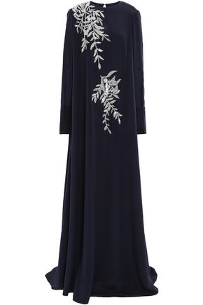 OSCAR DE LA RENTA Crystal-embellished embroidered silk-satin gown