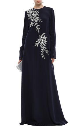OSCAR DE LA RENTA Crystal-embellished embroidered silk-satin gown