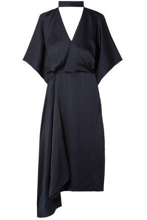 ROLAND MOURET Meyers wrap-effect asymmetric hammered silk-satin midi dress