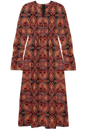 ETRO Gathered printed stretch-crepe midi dress