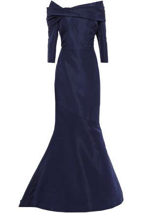 OSCAR DE LA RENTA Off-the-shoulder silk-taffeta gown