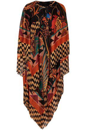 ETRO Cape-effect layered fringed jacquard-knit midi dress