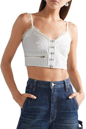 OPENING CEREMONY Cropped shirred striped cotton-blend jacquard top