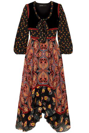ETRO Asymmetric printed silk crepe de chine and jacquard midi dress