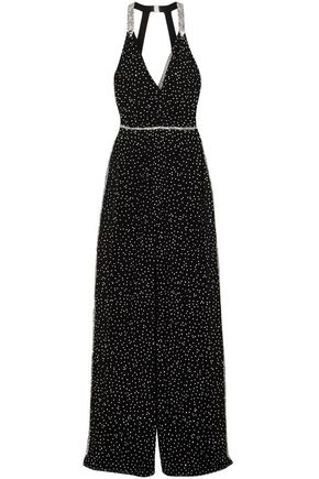 JENNY PACKHAM Cutout wrap-effect crystal-embellished silk-chiffon jumpsuit