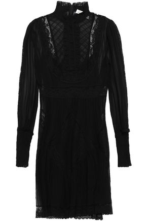 ZIMMERMANN Lace-trimmed pleated silk-chiffon mini dress
