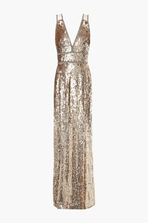 JENNY PACKHAM Crystal-embellished sequined tulle gown