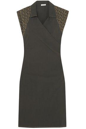 TOMAS MAIER Embroidered cotton-blend poplin wrap dress