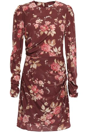 ZIMMERMANN Ruched floral-print stretch-silk mini dress