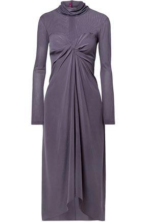 SIES MARJAN Twisted mesh-paneled washed-silk midi turtleneck dress