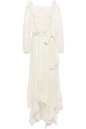 ZIMMERMANN Asymmetric lace-trimmed fil coupé chiffon midi dress